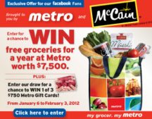 "Consultez la page de réduction ""Metro Ontario - Win Free Groceries for Year Contest"""