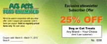 "View the ""SAVE 25% on Dog or Cat Treats at PJ's Pets"" coupon page"
