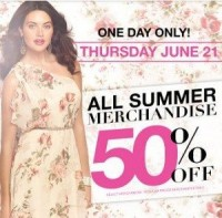 "View the ""Suzy Shier 50% OFF All Summer Merchandise June 21st ONLY"" coupon page"