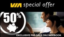 "View the ""Via Rail 50% Facebook Presale"" coupon page"