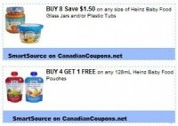 "View the ""Heinz B4G1 FREE Baby Food Pouches (SmartSource printable)"" coupon page"