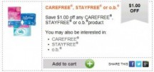 "View the ""$1 OFF any Carefree, Stayfree or o.b. product (Healthy Essentials Printable)"" coupon page"