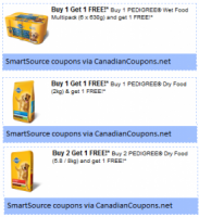 "View the ""Pedigree B1G1 & B2G1 FREE Coupons (SmartSource printables)"" coupon page"