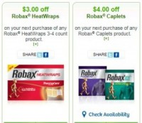 "View the ""Robax $3 OFF HeatWraps + $4 OFF Robax Caplets (Printable WebSaver Coupons)"" coupon page"