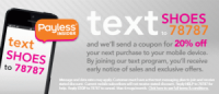 "View the ""Payless Shoes 20% OFF with Mobile Text Subscription (Digital Coupon)"" coupon page"