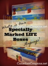 "View the ""What's in Those Specially Marked Life Boxes, Anyways?"" coupon page"