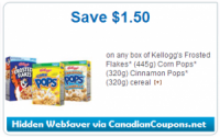 "View the ""Kellogg's $1.50 OFF Frosted Flakes, Corn Pops, or Cinnamon Pops Cereal (Hidden WebSaver Printable Coupon)"" coupon page"