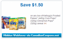 Affichez la page de coupons «Kellogg's 1.50 OFF Glasses givrées, Corn Pops ou Cannelle Pops Cereal (Hidden WebSaver Printable Coupon)»