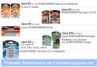 "View the ""Energizer $21 in Coupon Savings (Printable SmartSource Coupons)"" coupon page"