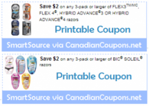 "View the ""Bic $4 in Razor Coupon Savings (Printable SmartSource Coupons)"" coupon page"