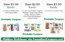 "View the ""Kashi $4 in Canadian Coupon Savings (Printable Hidden WebSaver Coupons)"" coupon page"