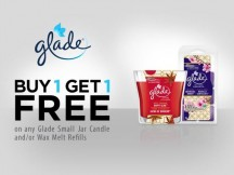 "View the ""FREE Glade Small Jar Candle and/or Wax Melt Reills"" coupon page"