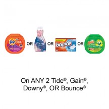 "View the ""Fabric Care – Save $3.00 when you buy any TWO Tide®, Gain®, Downy® OR Bounce® Products (excludes trial/travel size, value/gift/bonus packs)"" coupon page"