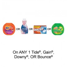 "View the ""Fabric Care – Save $1.00 when you buy any ONE Tide®, Gain®, Downy® OR Bounce® Product (excludes trial/travel size, value/gift/bonus packs)"" coupon page"