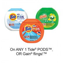 "Regardez le «Tissu d'entretien - Économisez $ 2.00 lorsque vous achetez un produit ONE Tide® PODS ™ OR Gain® flings! ™ (exclut les options de test / voyage, valeur / cadeau / bonus)"" page de coupon"