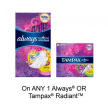 "View the ""Feminine Care – Save 75¢ when you buy any ONE Always® OR Tampax® Radiant Product (excludes trial/travel size, value/gift/bonus packs)"" coupon page"
