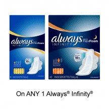 "View the ""Always – Save 75¢ when you buy any ONE Always® Infinity® Product (excludes trial/travel size, value/gift/bonus packs)"" coupon page"