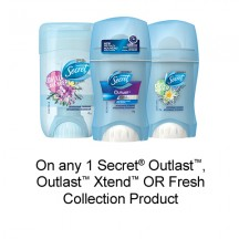 "View the ""Secret – Save 75¢ when you buy any ONE Secret® Outlast, Outlast Xtend OR Fresh Collection Product (excludes trial/travel size, value/gift/bonus packs)"" coupon page"