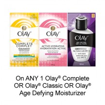 """View the """"Olay – Save $1.25 when you buy any ONE Olay® Complete, Olay® Classic OR Olay® Age Defying Moisturizer (excludes trial/travel size, value/gift/bonus packs)"""" coupon page"""