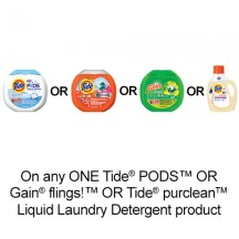 "View the ""Fabric Care – Save $2.00 when you buy any ONE Tide® PODS™ OR Gain® flings!™ OR Tide purclean™ product (excludes trial/travel size, value/gift/bonus packs)"" coupon page"