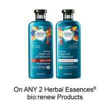"View the ""Herbal Essences – Save $3.00 when you buy any TWO Herbal Essences® bio:renew Products (excludes trial/travel size, value/gift/bonus packs)"" coupon page"