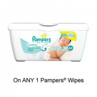 "View the ""Pampers – Save $1.00 when you buy any ONE Pampers® Pack of Wipes (excludes trial/travel size, value/gift/bonus packs)"" coupon page"