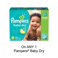 "View the ""Pampers – Save $1.50 when you buy any ONE Pampers® Baby Dry Diapers (excludes trial/travel size, value/gift/bonus packs)"" coupon page"