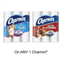 "View the ""Charmin – Save 50¢ when you buy any ONE Charmin® toilet paper (12 double rolls or more) (excludes trial/travel size, value/gift/bonus packs)"" coupon page"