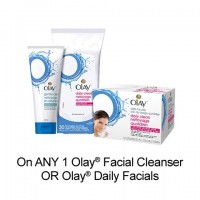 "View the ""Olay – Save 75¢ when you buy any ONE Olay® Facial Cleanser OR Olay® Daily Facial Cloths (excludes trial/travel size, value/gift/bonus packs)"" coupon page"