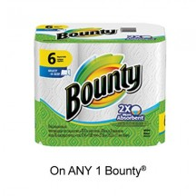 "View the ""Bounty – Save 50¢ when you buy any ONE Bounty® napkins OR paper towels (6 rolls or more) (excludes trial/travel size, value/gift/bonus packs)"" coupon page"